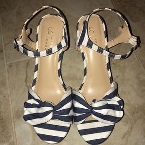 Lauren Conrad navy and white striped wedges